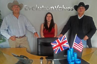 The image shows Peter Cone Sales Director on left, Hayley Lewis Internal Sales Supervisor (for the Americas) and Steve Heap, Managing Director on the occasion of a large £1m + USA order